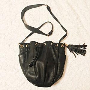 Leather Fringe Bucket Purse